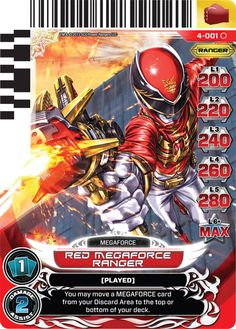 Power Ranger Megaforce Red Ranger Card