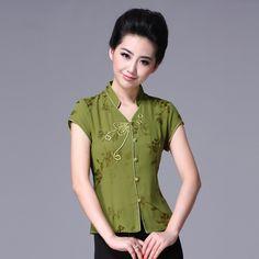 Open Neck Oriental Style Short Shirt - Green - Chinese Shirts & Blouses - Women