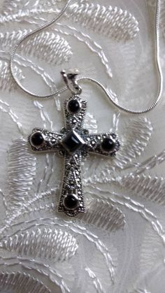 Sterling Silver Black Onyx Cross Marcasite Pendant With Sterling silver 16 inch Necklace by 4GIRLSDESIGNANDGIFTS on Etsy