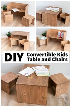 This is so cool! This Montessori inspired convertible DIY table and chair for kids can be used in so many ways! They have the full plans and video tutorial Toddler Table And Chairs, Kid Table, Table And Chair Sets, Woodworking Projects That Sell, Woodworking Toys, Kids Bedside Table, Cube Chair, Scrap Wood Projects, Diy Home Repair