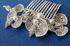 Couture Orchid Rhinestone Silver Plated Hair Comb