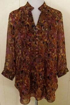 Coldwater Creek Sheer Lined Fall Colors 3/4 Sleeve Tunic Pintuck Top S 8 #ColdwaterCreek #Tunic
