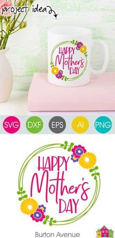 Make a sign or mug for your mom with your Cricut or Silhouette. Making projects is easy with this Happy Mother's Day SVG file. Works with Cricut & Silhouette. Happy Mother S Day, Mother And Father, Mothers Love, Happy Mothers, Diy Mother's Day Projects, Silhouette Studio Designer Edition, Mother's Day Diy, Silhouette Machine, Svg File