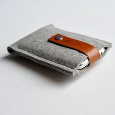 iPhone case- Grey Wool Felt with Brown Leather