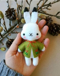 Felt PDF sewing pattern  Arctic hare ornament  Christmas