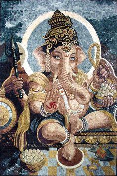 Ganesh 32w x 48h - Tile Floor Medallion    Ganesha sharanam, sharanam Ganesha!