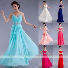 Elegant V Neck Chiffon Evening Formal Party Ball Gown Prom Bridesmaid Long Dress