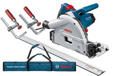 Bosch 1400W Plunge Saw 165mm + 1600mm Guide Rail + Clamps + Rail Bag. #GKT55GCE-SET @ Just Tools AustraliaFEATURES • Precision and power for an ultra clean cut • Noise damping with 48 teeth saw blade - for precise cuts in wood, board materials and composites • Precise and clever depth adjustment • Strong 1400 W motor with constant electronics, variable speed and convenient blade stop • Easy to use and intuitive blade change mechanism
