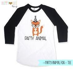 FOX Birthday Shirt Party Animal Birthday by myhappylifedesigns