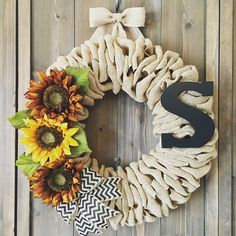 My new sunflower monogram wreath.  I created so many new wreaths yesterday and I'm really excited to share them over the next couple of days.  The letter is removable and repositionable.  #willowbloomwreaths #sunflowers #sunflower #fallwreath #fallwreaths #sunflowerwreath #etsywreath #etsy613
