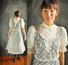 Vintage Victorian Style Sheer Lace Dress Sexy and by drowsySwords