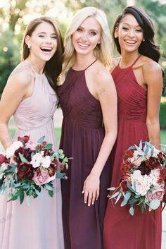437329344881 Different Colors Chiffon Floor-Length Sleeveless A-Line Open-Back Bridesmaid  Dress, FC1498
