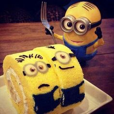 Just for a nice idea. Minion sponge cake roll with banana in the middle.