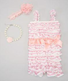 Loving this Pink & White Stripe Romper Set - Infant & Toddler on #zulily! #zulilyfinds