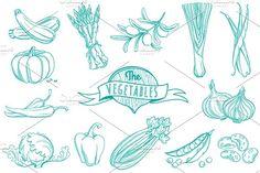 25 Outline hand drawn vegetable set by VasilkovS on @creativemarket