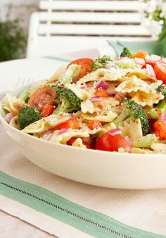 Garden-Fresh Pasta Salad – Ripe vegetables and whole-wheat noodles get together for a better-for-you, Healthy Living take on pasta salad.