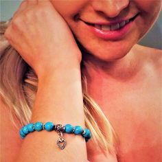 A gorgeous turquoise bracelet, both delicate and bold in appearance. The smooth stone is said to help make wearers feel more protected, confident and honest with themselves and others.