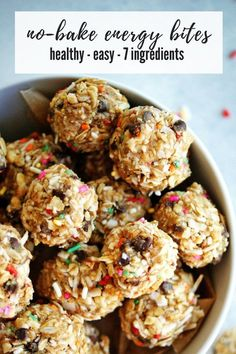 No-Bake Energy Bites - My Everyday Table Healthy no-bake energy bites that taste like a treat are perfect for little eaters and big eaters who are looking for a sweet treat! Healthy Snacks For Kids, Healthy Dessert Recipes, Healthy Treats, Healthy Baking, Snack Recipes, Healthy Food, Oatmeal Recipes, Healthy Muffins, Dinner Healthy