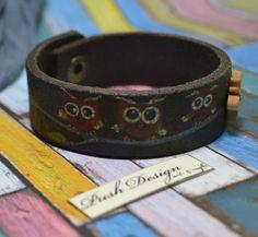Bratara piele '' Three litle Owl's'' (30 LEI la PushDesign.breslo.ro) Owl, Handmade Bracelets, Handmade Leather, Design, Accessories, Fashion, Moda, Fashion Styles, Owls