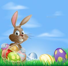 Easter Background Scene by Krisdog Easter background with copyspace in the sky featuring a cute Easter Bunny and lots of painted Easter Eggs