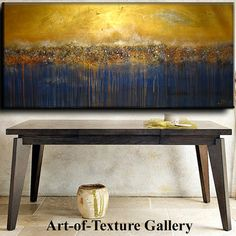 $328 70 x 28 HUGE Custom Original Abstract Texture Pebbling Gold Copper Green Blue Modern Oil Mixed Medium Painting by Je Hlobik