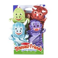 Dinosaur Friends Hand Puppets $19.99  Four soft, friendly dinosaur hand-puppets, including Triceratops, T-Rex, Ankylosaurus, and Stegosaurus Sized to fit children and most adults, puppets are great for developing dexterity, communication skills, self-confidence, and parent-child bonding Soft stuffed-plush heads encourage cuddles and creativity Washable fabric