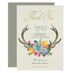 FLORAL SUCCULENT ANTLER BOHEMIAN ALLURE  THANK YOU CARD - red gifts color style cyo diy personalize unique
