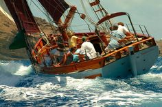 Sailing while heeled over.