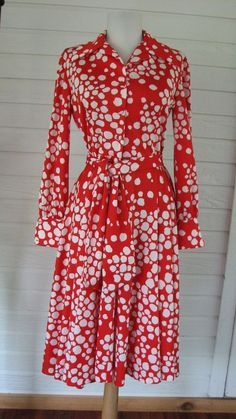Dress Gail Gray 1970s Red White from Graceful Antiques & Vintage Collectibles at rubylane.com
