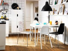 Family dining area with kids' storage and an extendable table
