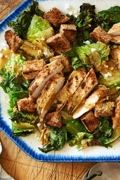NYT Cooking: Depending on your appetite, this variation on a classic Caesar salad with grilled chicken makes an excellent first-course or a full-on meal. Hitting the lettuce with a little fire is an unexpectedly brilliant trick
