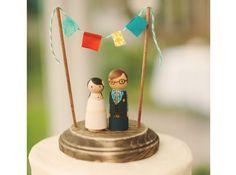 Mariage champetre gateau bonshommes