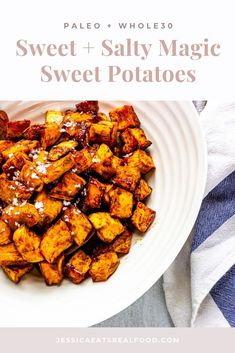 These sweet potatoes are caramelised gems of sweet + salty potato magic. They're crispy + tender + divinely golden. You'll never want to eat sweet potatoes another way again. Did I mention that they're SO simple + made with real food ingredients? Gluten Free Recipes Side Dishes, Paleo Side Dishes, Vegetable Side Dishes, Paleo Recipes, Real Food Recipes, Savoury Recipes, Side Recipes, Lunch Recipes, Best Salads Ever
