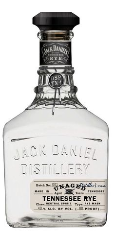 Jack Daniel's Unaged Rye Whiskey - Are white whiskeys suddenly the cool thing to do? I feel like I never saw them before a month ago and now they're everywhere (cool drinks design) Rye Whiskey, Scotch Whiskey, Jack Daniels Whiskey, Moonshine Whiskey, Whiskey Girl, Vodka, Tequila, Alcohol Bottles, Liquor Bottles