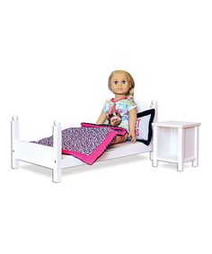 This White Bed Bedding & Nightstand for 18'' Doll is perfect! #zulilyfinds