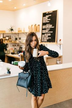 What to Wear to a Morning Meeting at Juice Society polka dot kate spade dress, juice society in austin The post What to Wear to a Morning Meeting at Juice Society appeared first on Beauty Shares. Day Drinking Outfit, Mode Outfits, Fashion Outfits, Jeans Fashion, Hijab Fashion, Work Attire, Office Attire, Outfit Work, Mode Inspiration