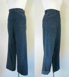 Vintage Side Zipper Denim Jeans / 1940s 1950s by rileybellavintage