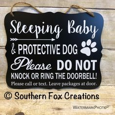 Sleeping Baby & Protective Dog Door Hanger/Sign/ Baby Gift/ Do not Disturb Sign/ No Soliciting Sign/ Do not Knock Sign Sleeping Baby Quotes, Baby Sleeping Sign, Baby Door Signs, Protective Dogs, No Soliciting Signs, Chalkboard Signs, Baby Boy Rooms, Vinyl Lettering, Sign Quotes