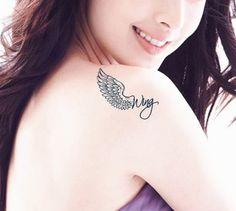 tatuagem com asas de anjo e nome - Pesquisa Google