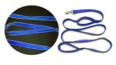 Dual Handles Dog Leash-Double Handles Dog Leash-2 handles Dog Leash-1 Inch Wide, 8 Feet Long -reflection line sewing (Blue) *** You can find more details by visiting the image link.