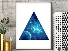 Geometric galaxy cross stitch pattern, modern counted cross stitch, universe, planet, cosmic, cosmos, stars, nebula, abstract, digital pdf