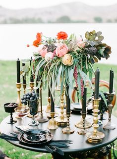 black + gold tablescape with pops of color | Halloween Boudoir