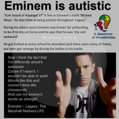 Does Eminem Have Asperger's? ⋆ The Autism Mom Autism Help, Aspergers Autism, Adhd And Autism, Autism Parenting, Cure For Autism, Autism Awareness Quotes, Autism Quotes, Quotes About Autism, Autism