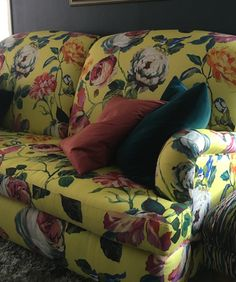 English P-arm sofa covered in Country Garden Mimosa fabric.