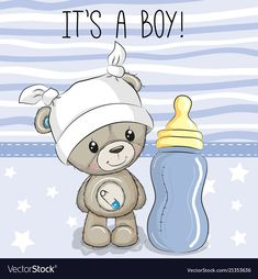 Cartoon Teddy Bear with feeding bottle. Cute Cartoon Teddy Bear with feeding bottle stock illustration