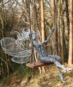 """""""Weeeee"""" Fantasy Wire Fairies Sculpture by Robin Wight Robin Wight, Wire Art Sculpture, Garden Sculpture, Wire Sculptures, Chicken Wire Art, Fantasy Wire, Fairy Art, Land Art, Garden Art"""