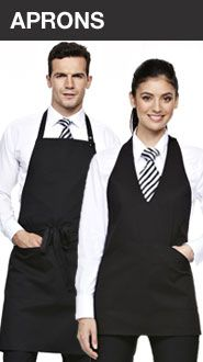 Bib aprons, short aprons and long aprons in huge range of colours