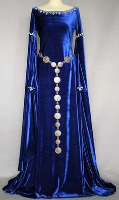 """Gowns Pagan Wicca Witch: """"Camelot"""" blue velvet medieval gown, with silver decoration and belt, by costume designer Evelyn Preikschat."""