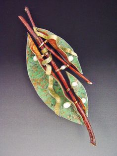 jewelry image of Handmade paper pin with pearls,wood,and beads