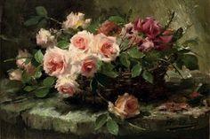 Frans Mortelmans (1865-1936)  Pink roses in a basket